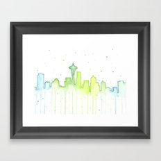 Seattle Skyline Watercolor Space Needle Painting Framed Art Print