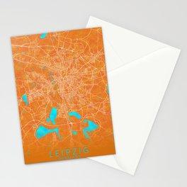 Leipzig, Germany, Gold, Blue, City, Map Stationery Cards