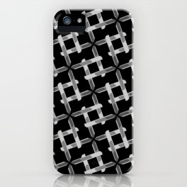 Seamless Black and White Pattern from Rectangle Intersections iPhone Case
