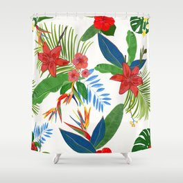 Tropical Leaves Pomegranate Shower Curtain