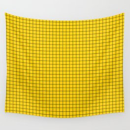 Yellow Grid Black Line Wall Tapestry