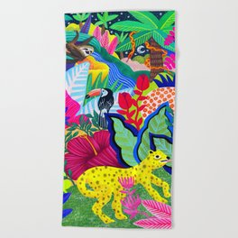 Jungle Party Animals Beach Towel