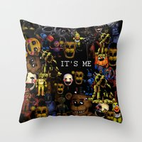 fnaf Throw Pillows featuring FNAF Cluster Design by artistathenawhite