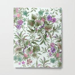 mint tropical floral Metal Print