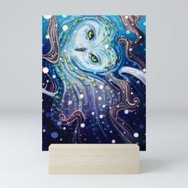 Snow Magic gouache owl painting Mini Art Print