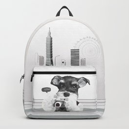 Schnauzer with Camera Backpack