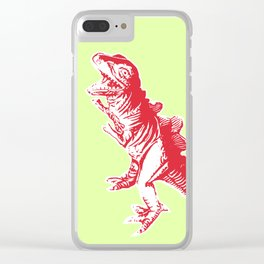 Dino Pop Art - T-Rex - Lime & Red Clear iPhone Case