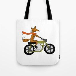 Fox on motorcycle Tote Bag