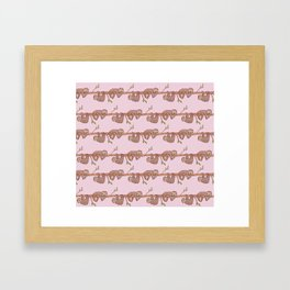 Lazy Baby Sloth Pattern in Pink Framed Art Print