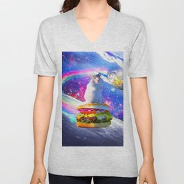 Rainbow Space Hamster Riding Burger Unisex V-Neck