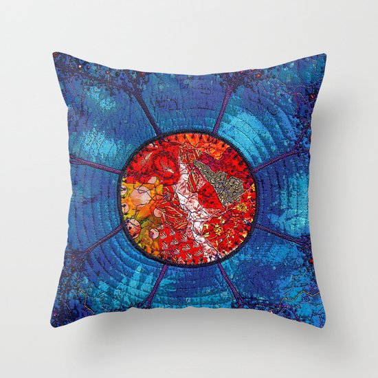 Red and blue with trees Throw Pillow by Bozena Wojtaszek Society6