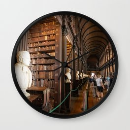 The Long Room of Trinity College Library in Dublin, Ireland Wall Clock