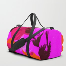 Pink And Red Poppies On A Orange Background - Summer Juicy Color Palette Retro Mood #decor #society6 Duffle Bag