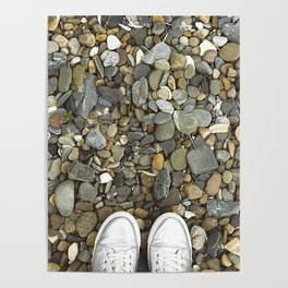 Brown pebbles and silver shoes Poster