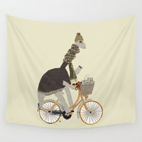 shopping Wall Tapestries featuring shopping for dinosaurs by bri.buckley