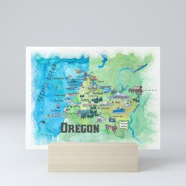 USA Oregon State Travel Poster Illustrated Art Map Mini Art Print