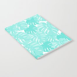 Monstera tropical palm leaves watercolor botanical painting pastel blue decor Notebook