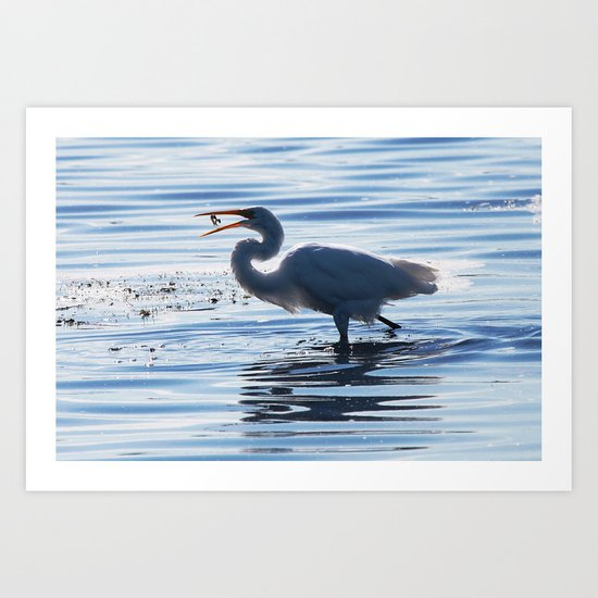 Great Egret Catch Art Print