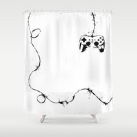 gaming Shower Curtains featuring Gaming Console by Thea Isla Design