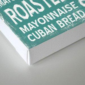 Cuban Sandwich Word Food Art Poster (Teal) Canvas Print