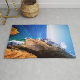 Aerial Photograph Of The Isolated Hawaii North Na Pali Tropical  Coastline - Nā Pali Coast  Rug