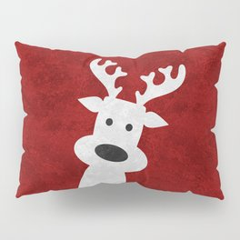 Christmas reindeer red marble Pillow Sham