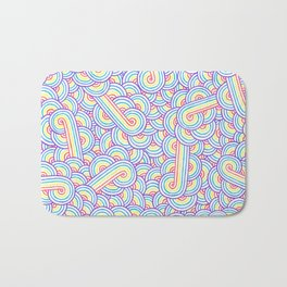 Rainbow and white swirls doodles Bath Mat