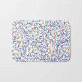 Rainbow and white swirls doodles Bath Mat