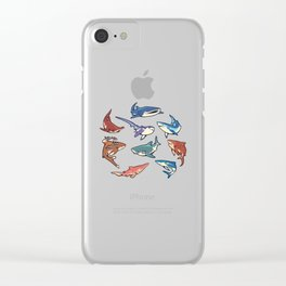 Sharks in the dark blue Clear iPhone Case
