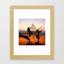 Inle Lake Fishermen #2 Framed Art Print