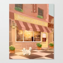 Budding Romance at Boulangerie Le Chat Noir Canvas Print