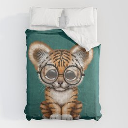 Cute Baby Tiger Cub Wearing Eye Glasses on Teal Blue Comforters