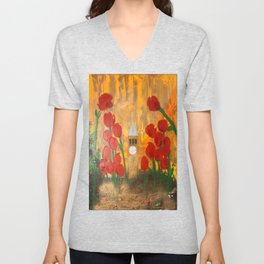 150 Years of CU - An Alumni Anniversary Tribute with Red Tulip Flowers Unisex V-Neck
