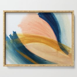 Slow as the Mississippi - Acrylic abstract with pink, blue, and brown Serving Tray