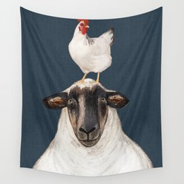 Chicken and Sheep Navy  Wall Tapestry