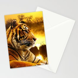 Tiger and Sunset Stationery Cards