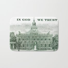 cash money old Ben 100 bucks dollars  us currency  in God we Trust Bath Mat