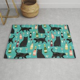 Black cat wine champagne cocktails cat breeds cat lover pattern art print Rug