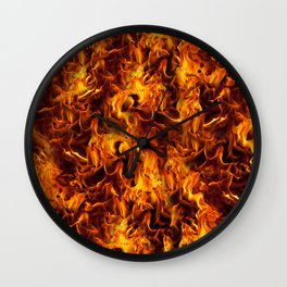 Fire and Flames Pattern Wall Clock