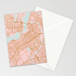 Pink and gold Ottawa map Stationery Cards