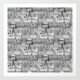 London toile black white Art Print