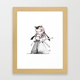 Samurai Japanese Bobtail Cat Framed Art Print
