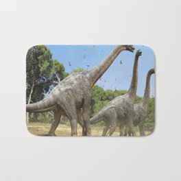 Dinosaurs walking on the river Bath Mat