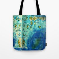 neverland Tote Bags featuring Neverland by Tiny-firefly Art