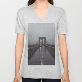 Brooklyn Bridge Fog Unisex V-Neck
