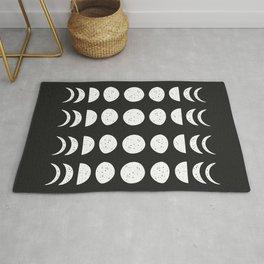 Moon Phases ( Black & White ) Rug