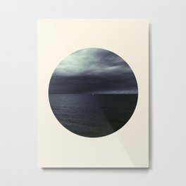 Lonely Boat Grey Sky & Ocean Circle Frame Crop Metal Print