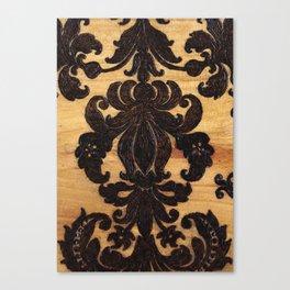 Wood Burnt Damask Canvas Print