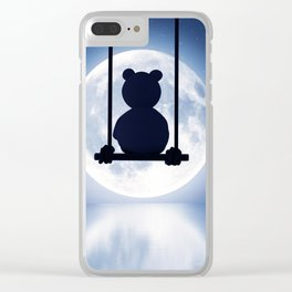 Sad teddy bear sitting on swing looking to the moon,3d rendering Clear iPhone Case