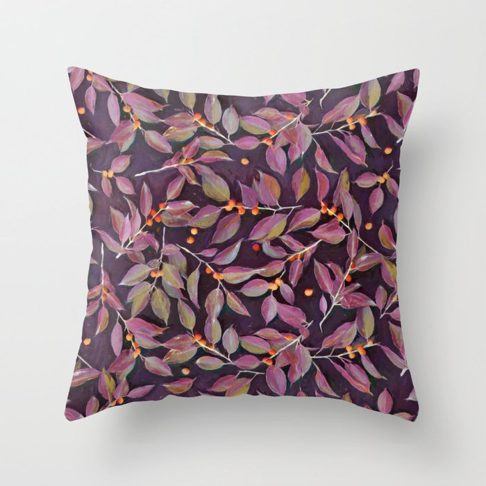 Leaves Berries in Olive Plum Burnt Orange Throw Pillow by